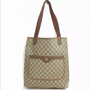 AUTHENTIC preowned GUCCI tote bag Brown PVC 990966